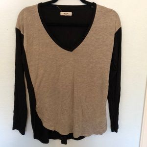 Madewell gray and navy super soft long sleeve top